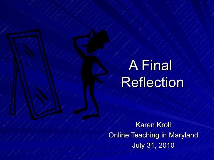 A final reflection