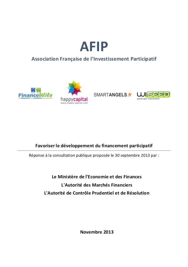 AFIP Association Française de l'Investissement Participatif  Favoriser le développement du financement participatif Répons...