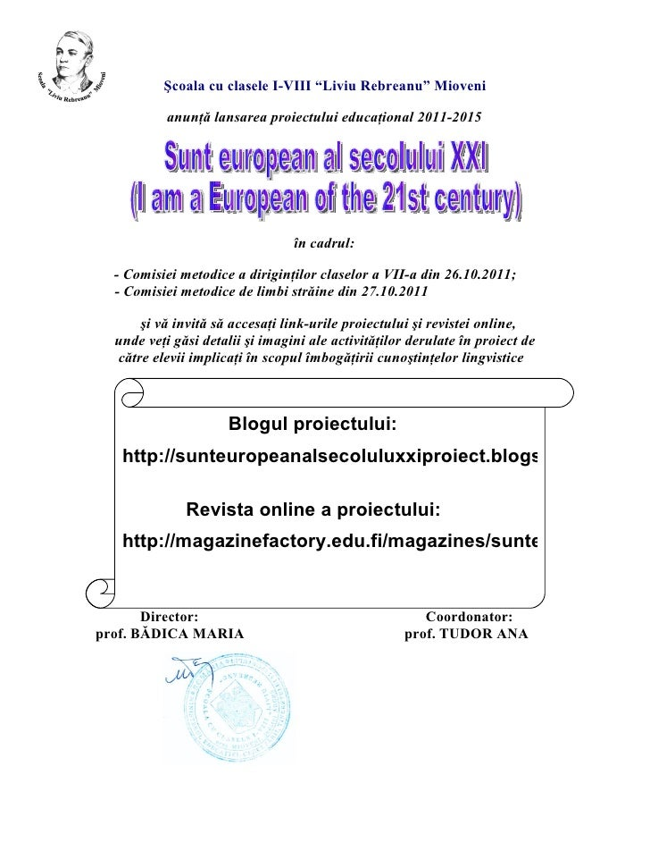 Afis lansare proiect 2011-2015