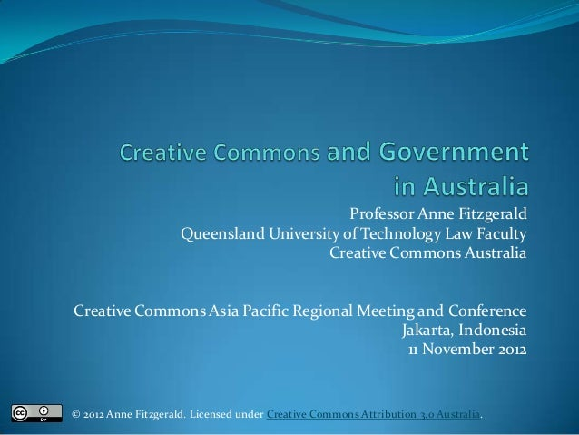 Creative Commons use by Government in Australia 2012