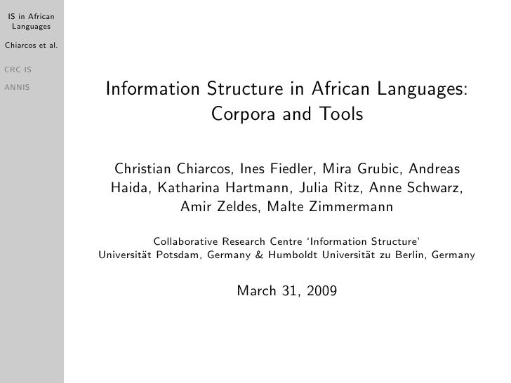 IS in African  Languages  Chiarcos et al.  CRC IS                     Information Structure in African Languages: ANNIS   ...