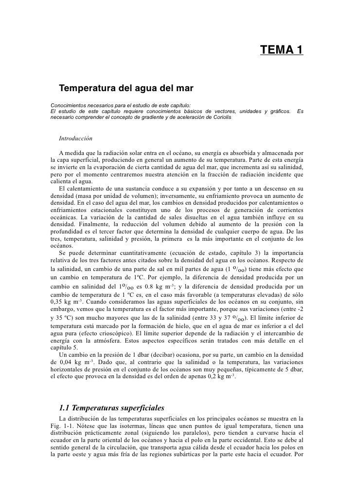 TEMA 1      Temperatura del agua del mar Conocimientos necesarios para el estudio de este capítulo: El estudio de este cap...