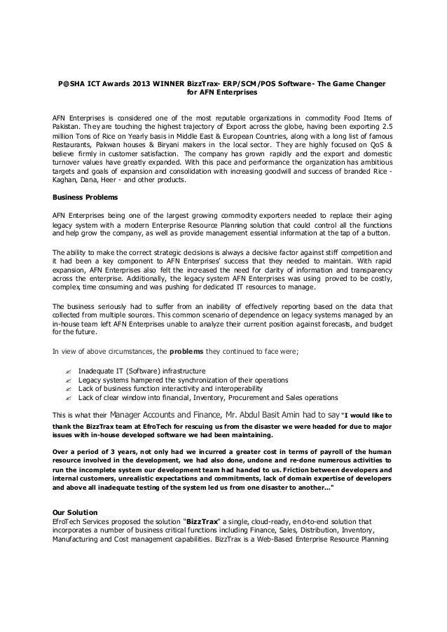AFN Enterprises - ERP Implementation Case Study - Pakistan
