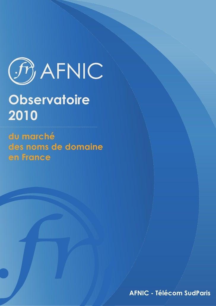 Observatoire 2010 du marché des noms de domaine en France