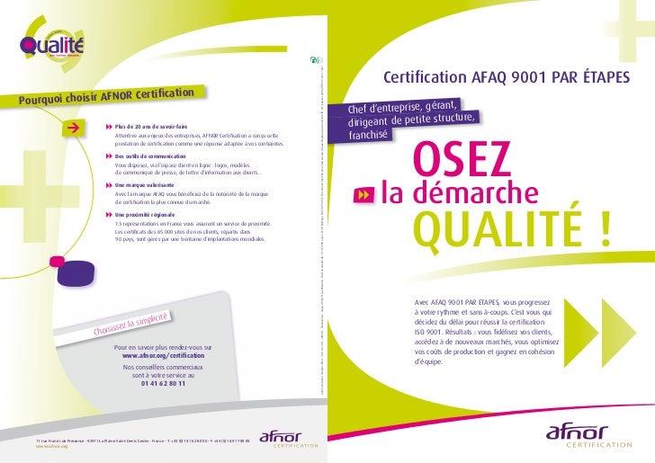 Certification AFAQ 9001 par Etapes