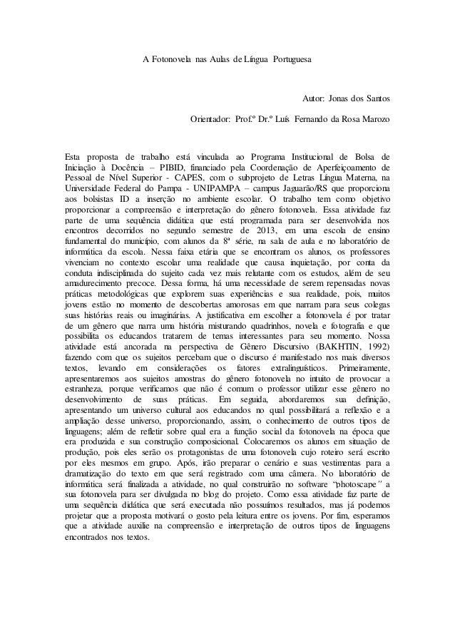 A fotonovela nas aulas de língua portuguesa