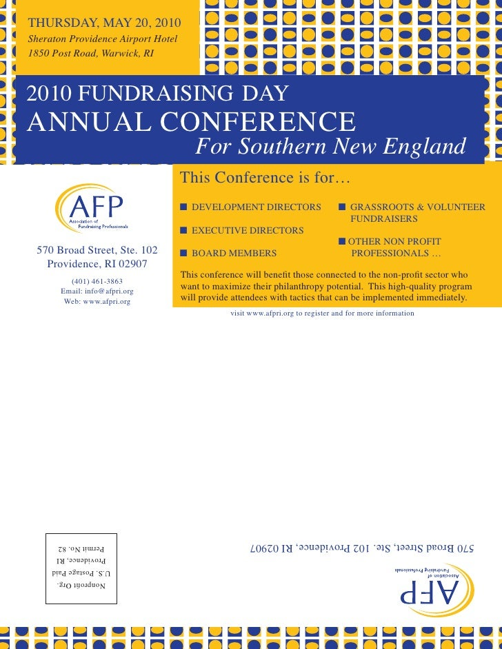 THURSDAY, MAY 20, 2010 Sheraton Providence Airport Hotel 1850 Post Road, Warwick, RI    2010 FUNDRAISING DAY ANNUAL CONFER...