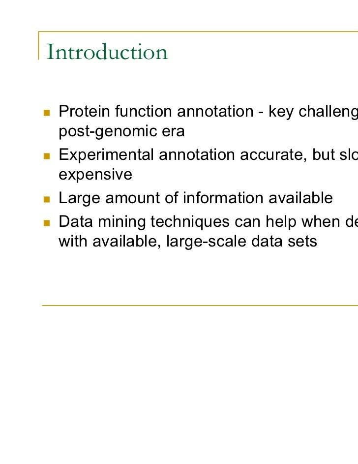 Post Genomic Era Introduction Protein Function Annotation Key Challenge in Post Genomic Era