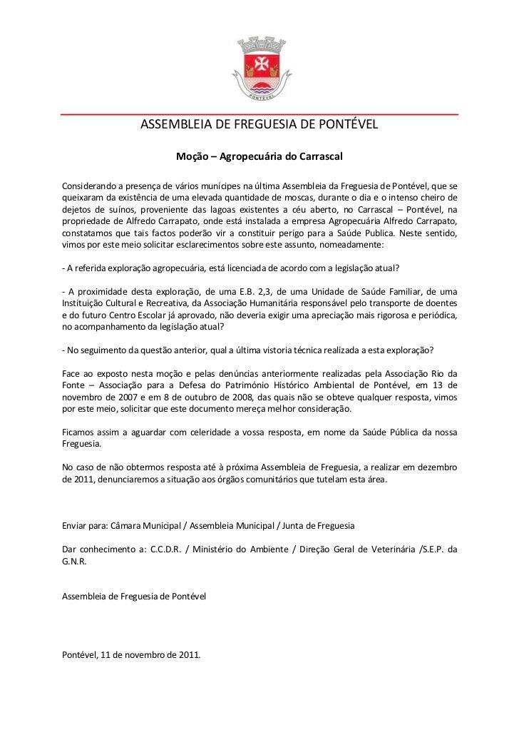 ASSEMBLEIA DE FREGUESIA DE PONTÉVEL                             Moção – Agropecuária do CarrascalConsiderando a presença d...