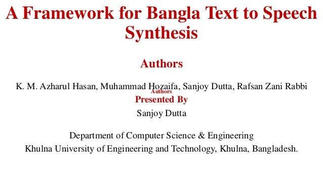 A framework for bangla text to speech synthesis