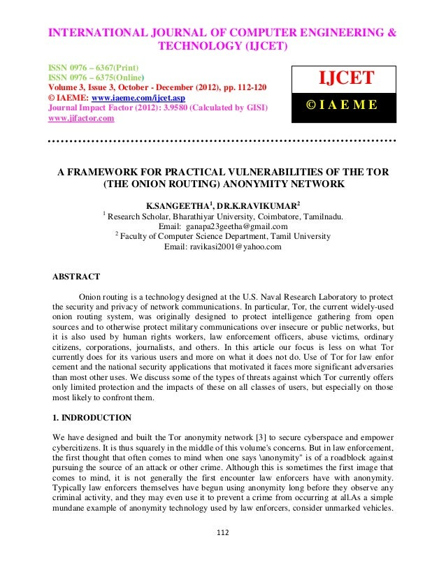 A framework for practical vulnerabilities of the tor (the onion routing) anonymity network