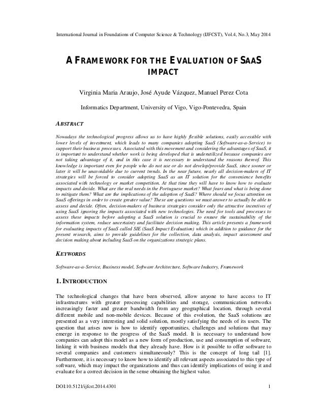 A framework for the evaluation of saas