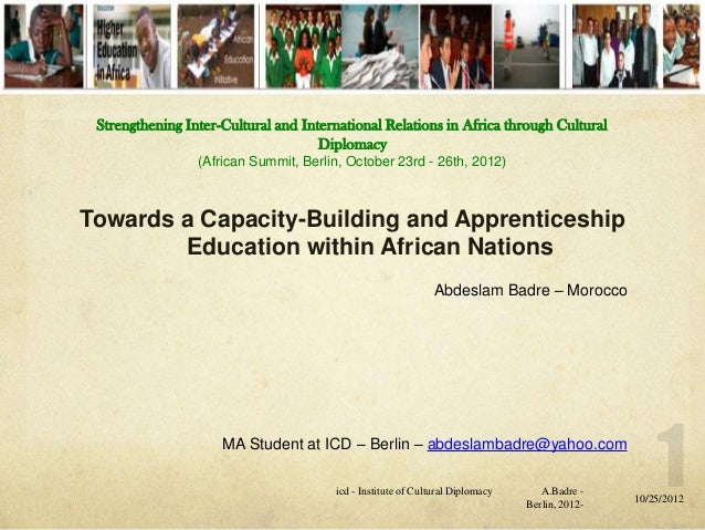 Strengthening Inter-Cultural and International Relations in Africa through Cultural                                     Di...