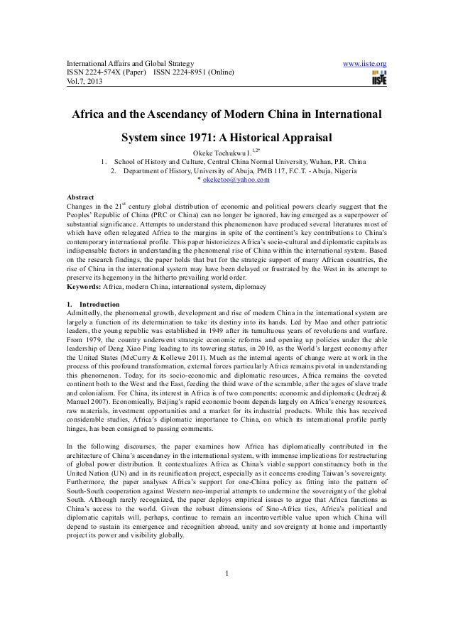 Africa and the ascendancy of modern china in international