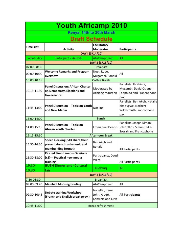 Youth Africamp 2010                                Kenya, 14th to 20th March                                  Draft Schedu...