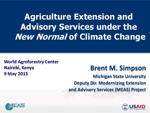 Agriculture Extension and Advisory Services under the  New Normal of Climate Change �simpson