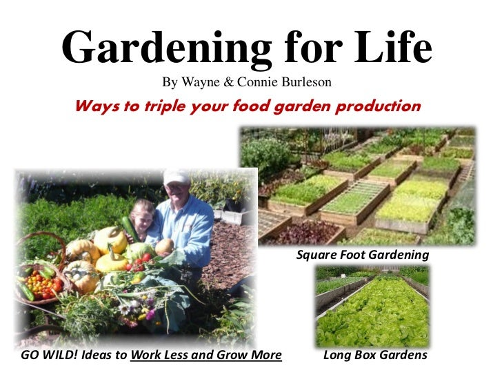 Gardening for Life                      By Wayne & Connie Burleson        Ways to triple your food garden production      ...