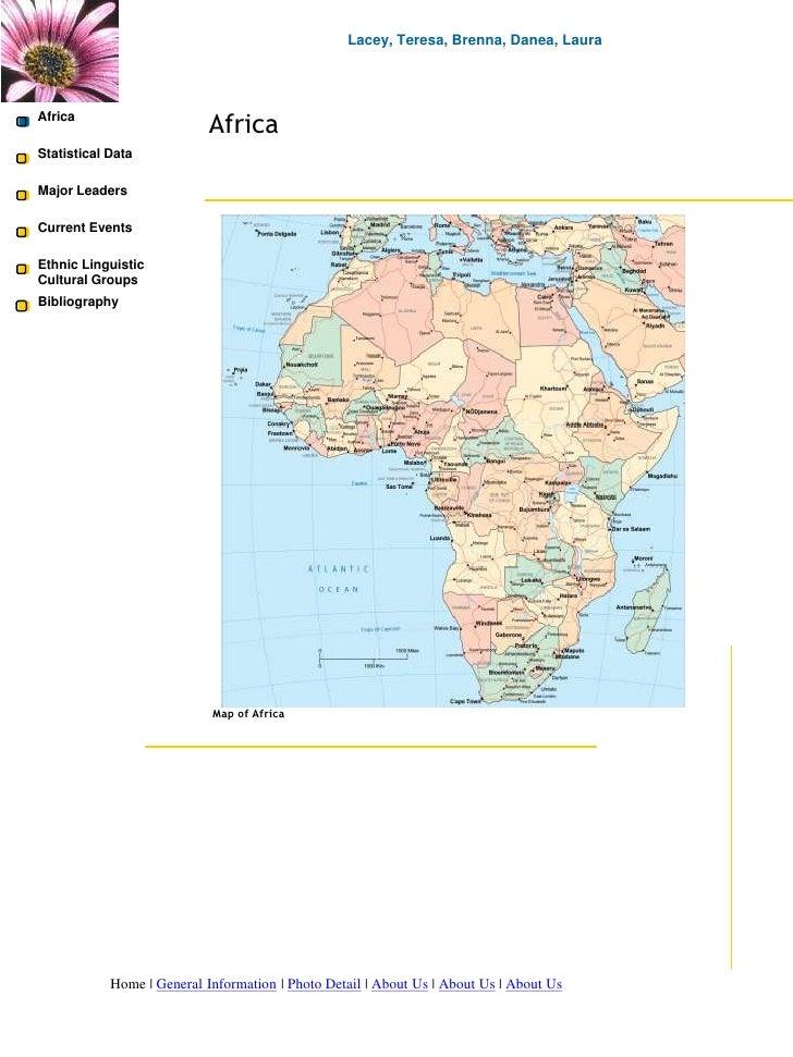 Lacey, Teresa, Brenna, Danea, Laura<br />Africa<br />Africa<br />Africa<br />Statistical Data<br />Major Leaders<br />Cur...