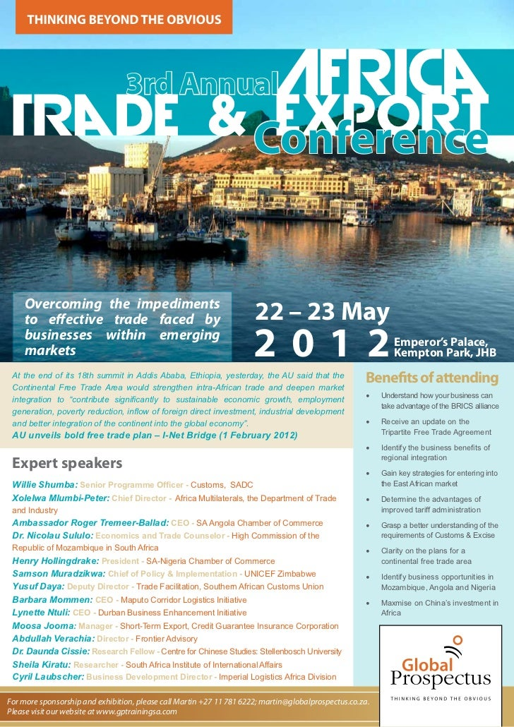 3rd Annual                                Africa Trade & Conference          Export    Overcoming the impediments    to ef...