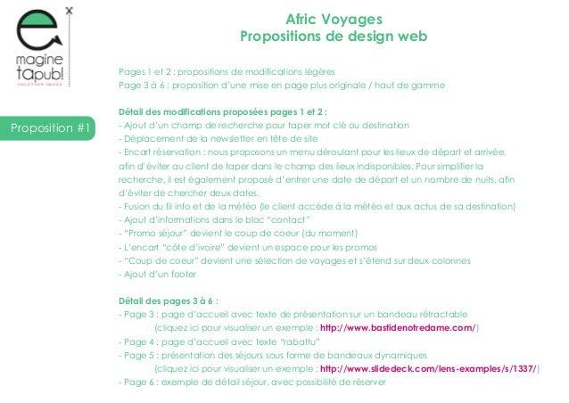 Proposition #1Afric VoyagesPropositions de design webPages 1 et 2 : propositions de modifications légèresPage 3 à 6 : prop...