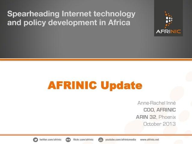 RIR Report: AFRINIC Update from ARIN 32