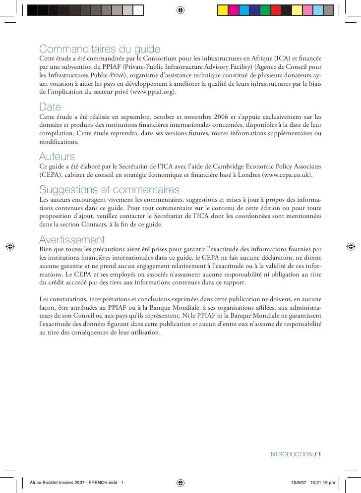 Commanditaires du guide    Cette étude a été commanditée par le Consortium pour les infrastructures en Afrique (ICA) et fin...