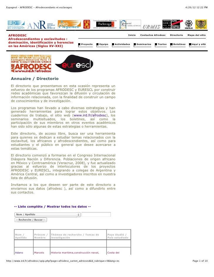 Espagnol - AFRODESC - Afrodescendants et esclavages                                                                       ...