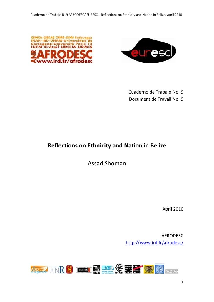 Afrodesc cuaderno 9: Reflections on Ethnicity and Nation in Belize -Shoman