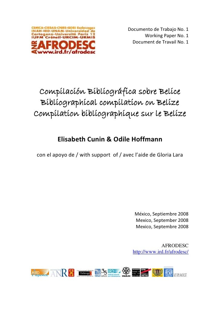 Afrodesc cuaderno no. 1 Bibliographic Compilation on Belize
