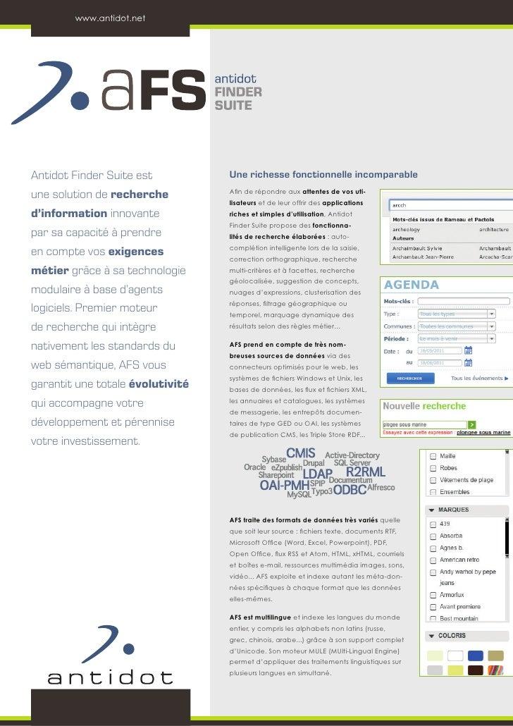 www.antidot.netAntidot Finder Suite est          Une richesse fonctionnelle incomparableune solution de recherche         ...
