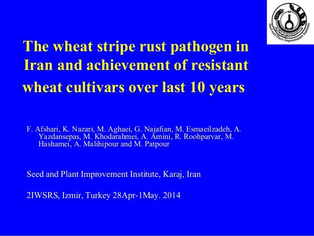The wheat stripe rust pathogen in Iran and achievement of resistant wheat cultivars over last 10 years F. Afshari, K. Naza...