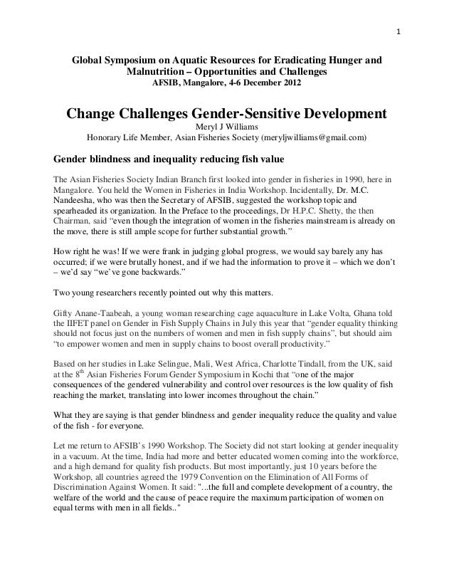 Fisheries Changes Challenge Gender-sensitive Development