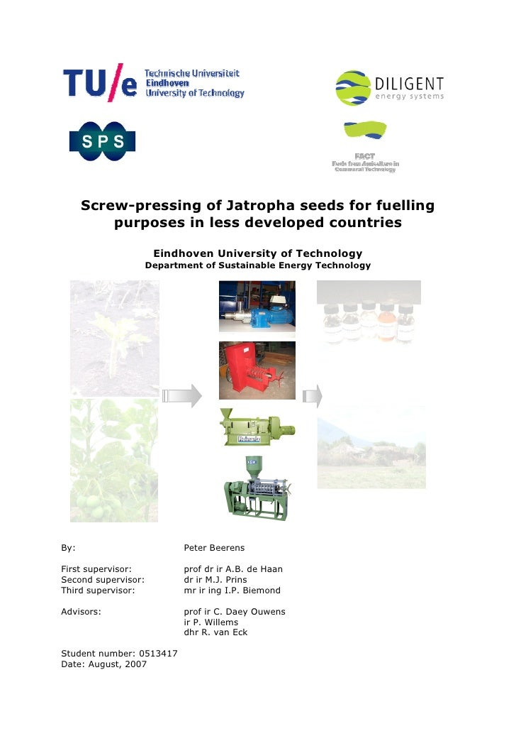 Screw-Pressing of Jatropha Seeds for Fuelling Purposes in Less Developed Countries