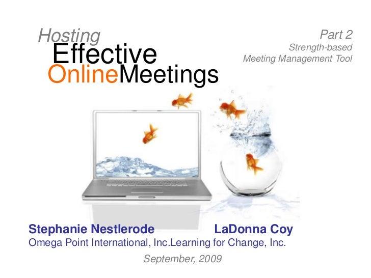 Hosting Effective Online Meetings, Part 2