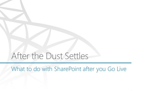 After the Dust settles - SharePoint Operations Guidance DaySPUG