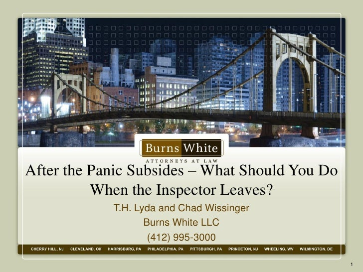 After the Panic Subsides – What Should You Do          When the Inspector Leaves?            T.H. Lyda and Chad Wissinger ...
