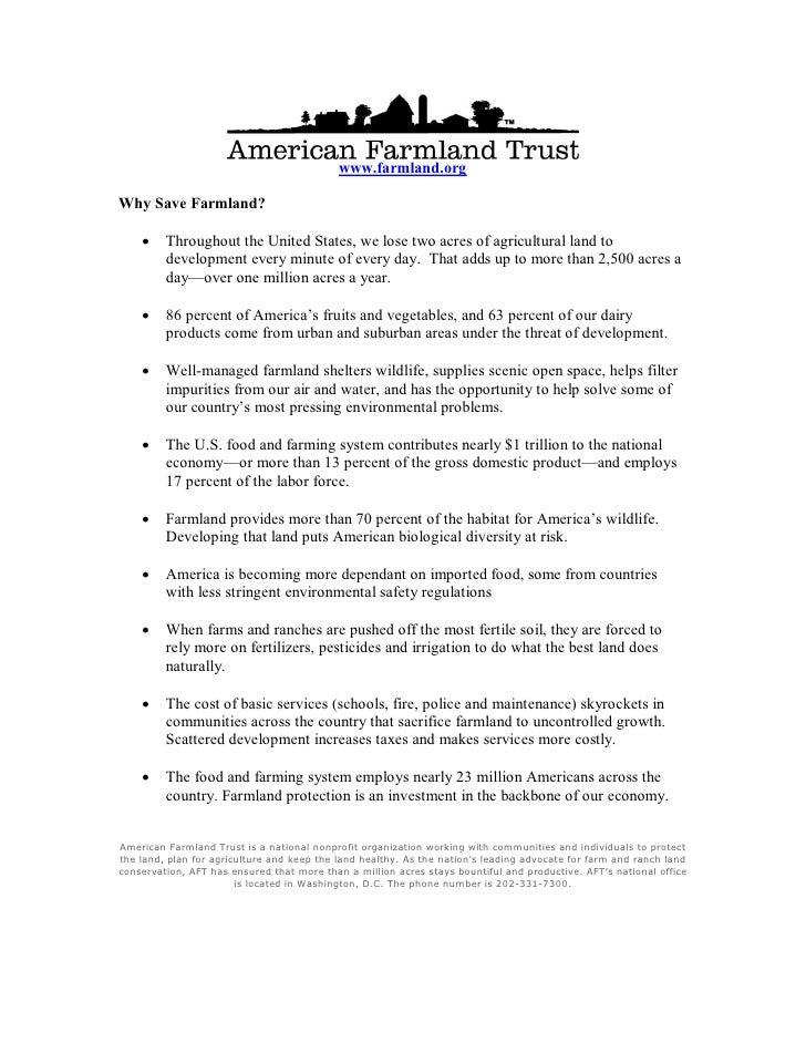 American Farmland Trust Fact Sheet