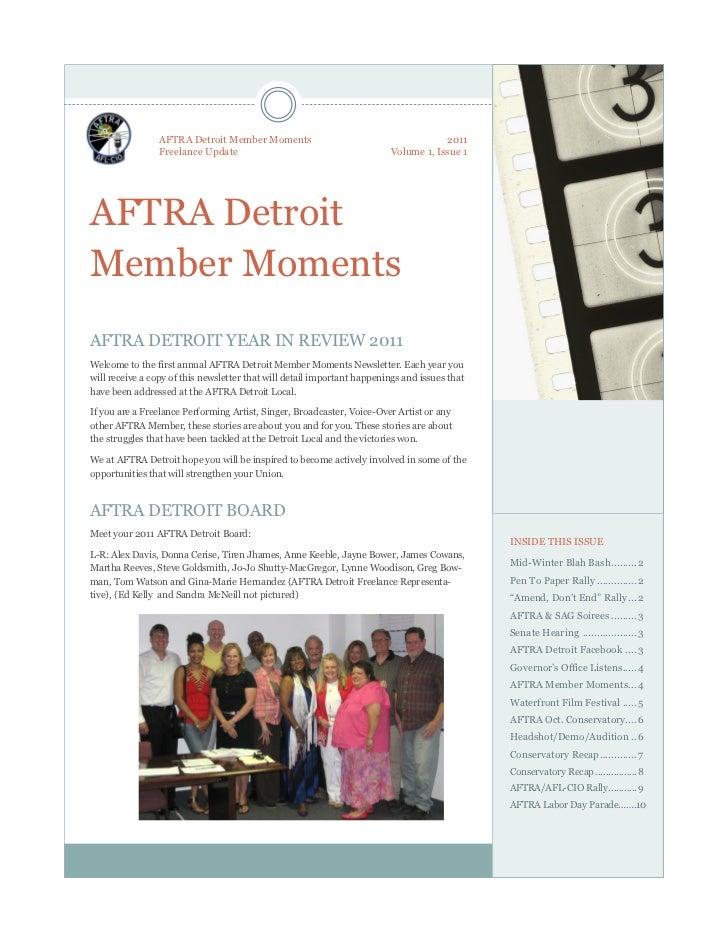 AFTRA Detroit Member Moments                                        2011                 Freelance Update                 ...