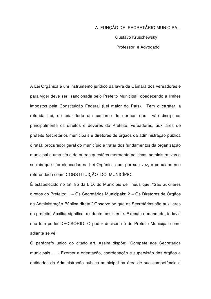 A  FUNÇÃO DE  SECRETÁRIO MUNICIPAL<br />                           ...