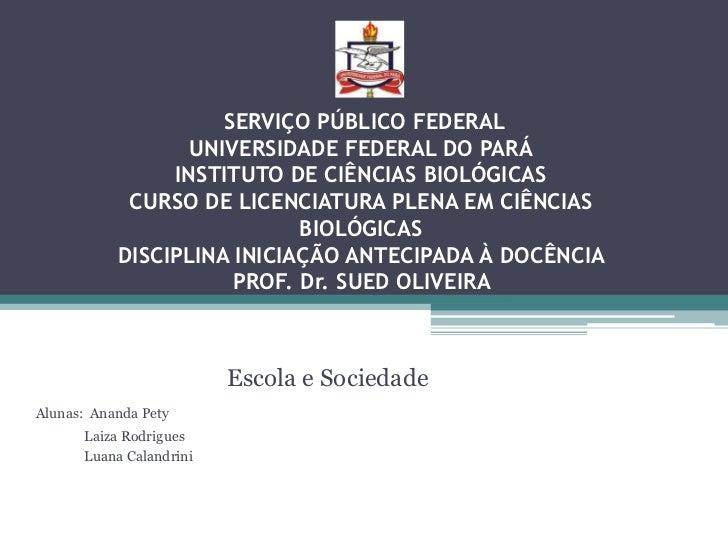 SERVIÇO PÚBLICO FEDERAL                  UNIVERSIDADE FEDERAL DO PARÁ                INSTITUTO DE CIÊNCIAS BIOLÓGICAS     ...