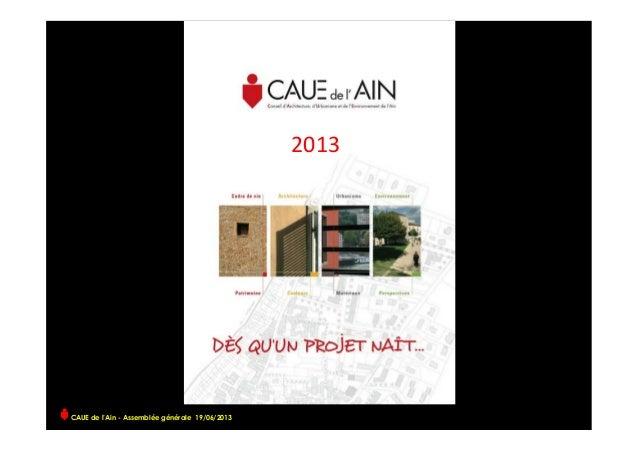 CAUE de l'Ain - Assemblée générale 19/06/2013  2013