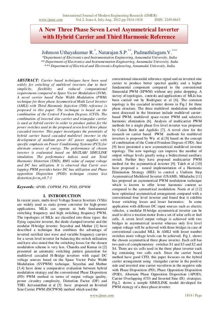 International Journal of Modern Engineering Research (IJMER)               www.ijmer.com            Vol.2, Issue.4, July-A...