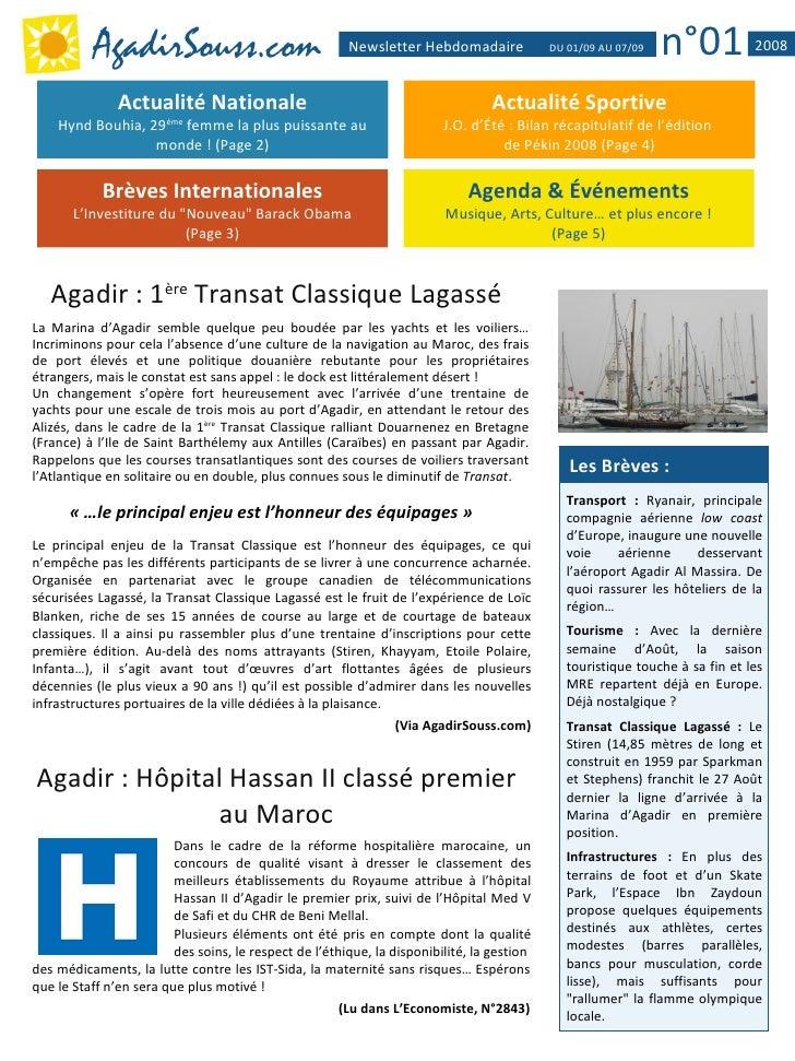 AgadirSouss.com                               Newsletter Hebdomadaire             DU 01/09 AU 07/09   n°01           2008 ...