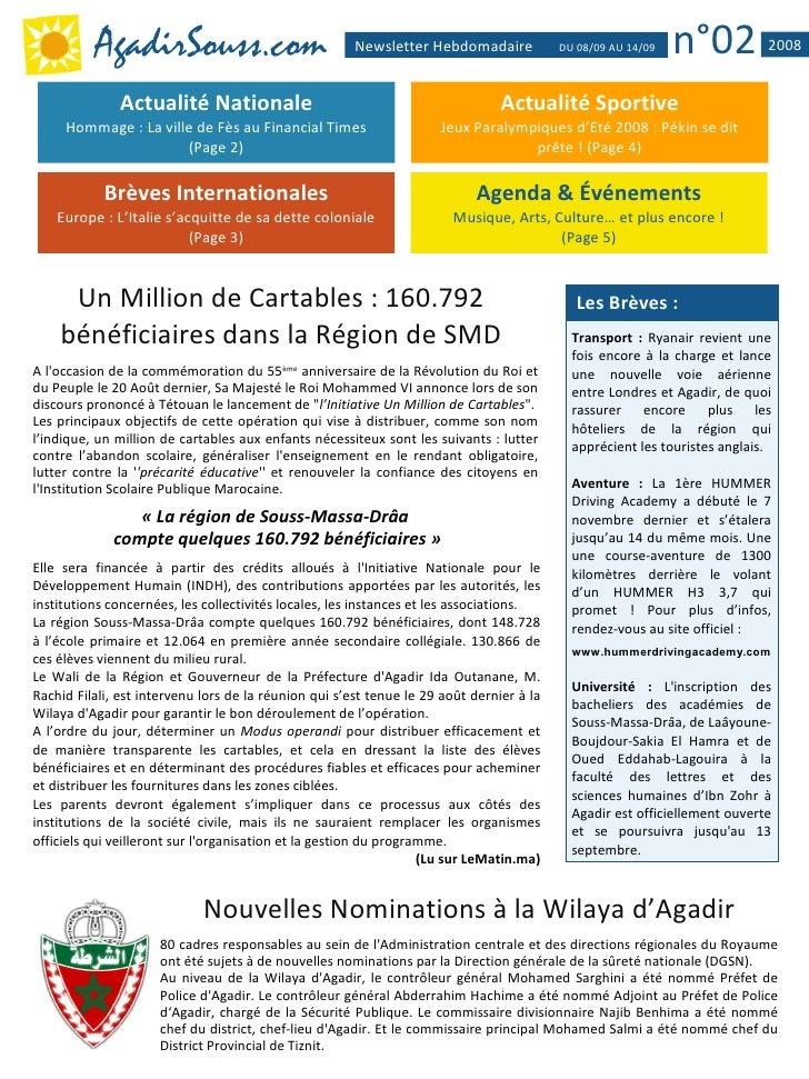 AgadirSouss.com                              Newsletter Hebdomadaire            DU 08/09 AU 14/09   n°02          2008    ...