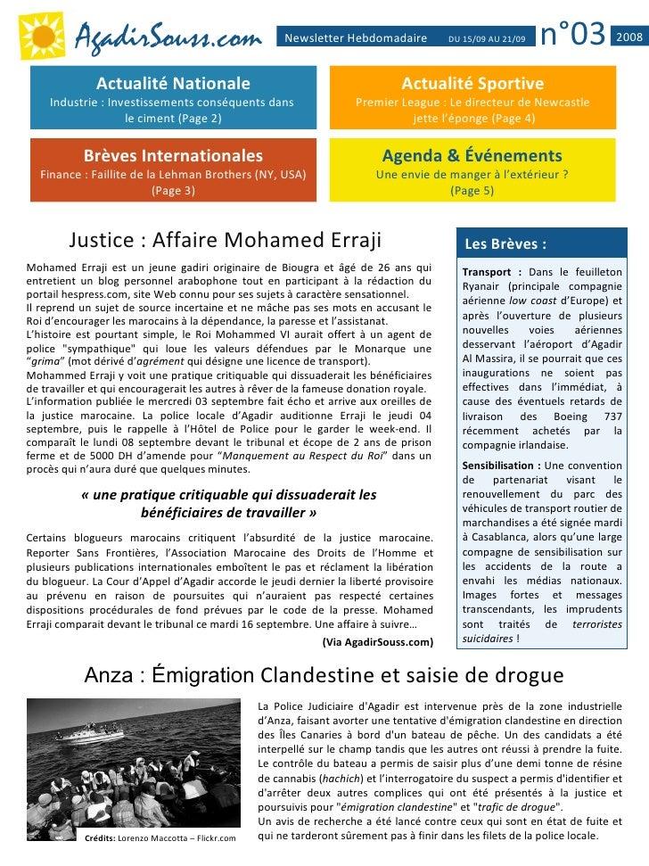 AgadirSouss.com                                 Newsletter Hebdomadaire            DU 15/09 AU 21/09   n°03           2008...