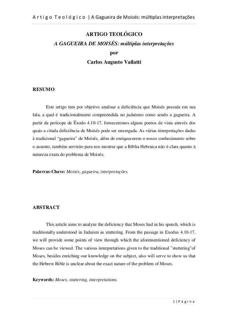 d                                    D                            ARTIGO TEOLÓGICO           A GAGUEIRA DE MOISÉS: múltipl...