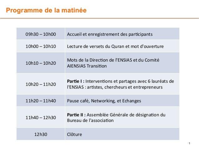 Programme de la matinée  1  09h30  –  10h00  Accueil  et  enregistrement  des  par7cipants  10h00  –  10h10  Lecture  de  ...