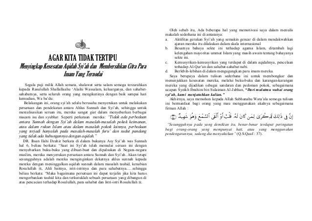 AGAR KITA TIDAK TERTIPU Menyingkap Kesesatan Aqidah Syi'ah dan Membersihkan Citra Para Imam Yang Ternodai Segala puji mili...