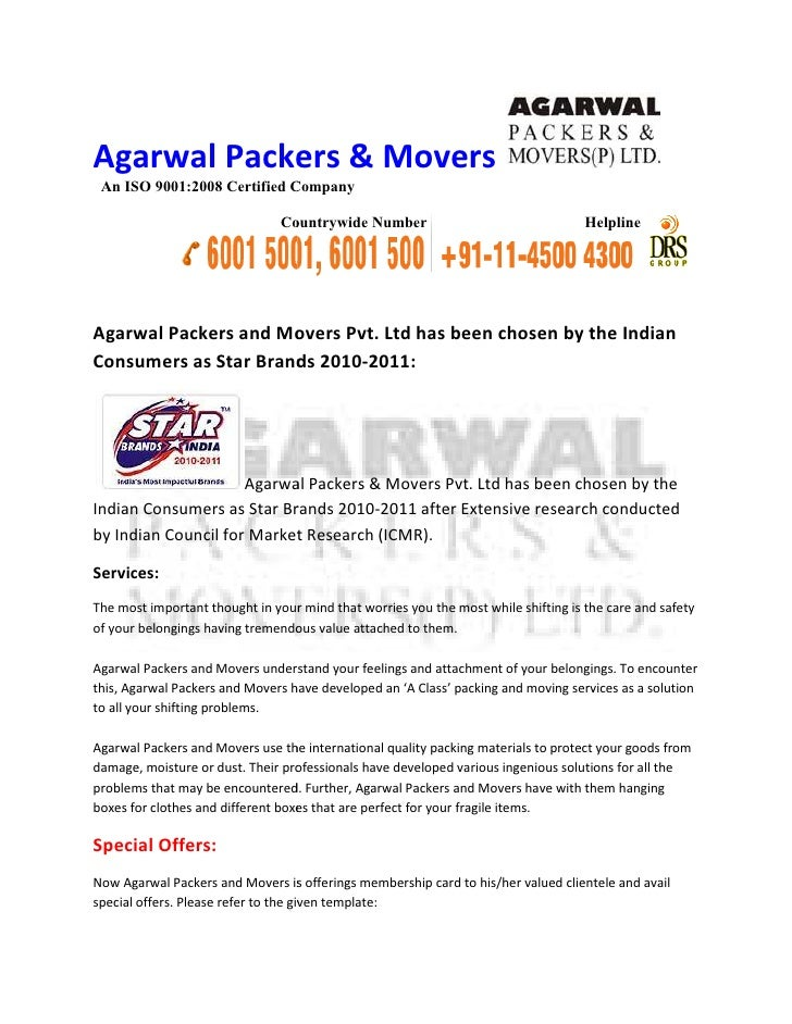Agarwal Packers and Movers Pvt Ltd has been chosen by the Indian Consumers as Star Brands 2010-2011