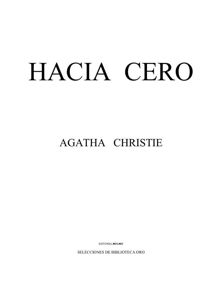 Agatha christie   hacia cero